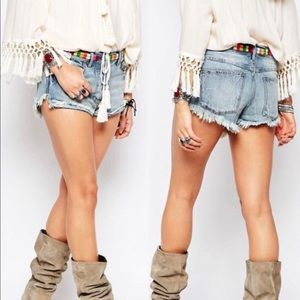 Free People Eliot Embroidered Denim Shorts